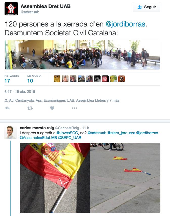 Comença la violència: estudiantes nacionalistas sacan la navaja contra SCC en laUAB
